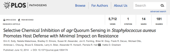 Selective Chemical Inhibition of Agr Quorum Sensing